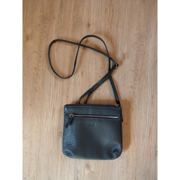 Handtasche dunkelbraun schwarz Leder Voi wie Neu