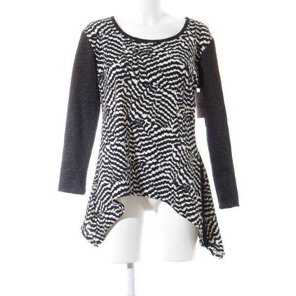Handverlesen Rundhalspullover schwarz-weiß abstraktes Muster Casual-Look