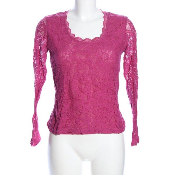Heine Spitzenbluse pink Blumenmuster Elegant