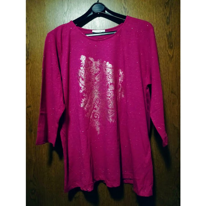 """Helena-Vera Shirt """"fuchsia"""" mit Golddruck vorn und vielen kleinen Glitzerpunkten"""