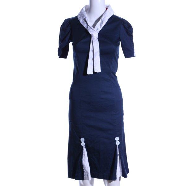 Hell Bunny Hemdblusenkleid blau-weiß Casual-Look