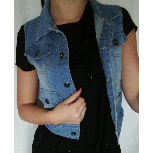Gilet en jean bleuet-bleu acier