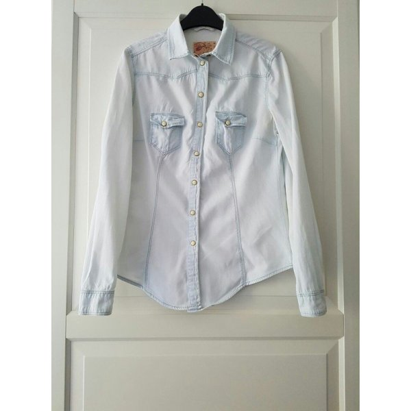 Denim Co. Camisa vaquera azul pálido-beige claro