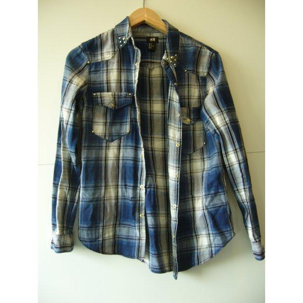 Hemd Holzfällerhemd blau schwarz weiß kariert goldene Nieten H&M XS 34 Baumwolle