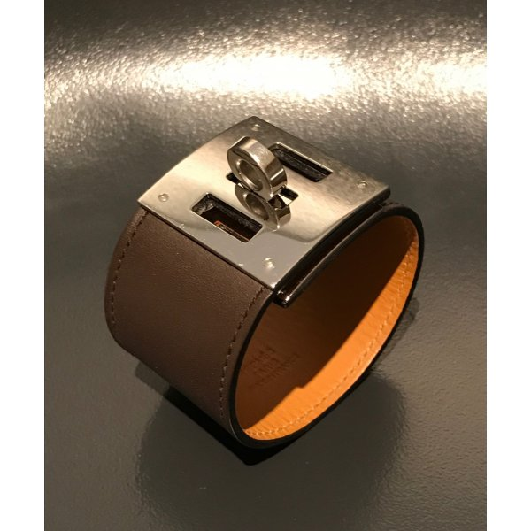 Hermes Armband Kelly Dog Gold Braun Silber S-M Box Leder Armreif Bracelet Brown