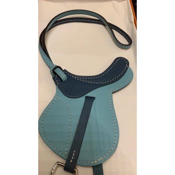 Hermès Paddock Selle Anhänger Blau Zweifarbig