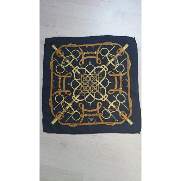 Hermès Zijden doek goud-donkerblauw
