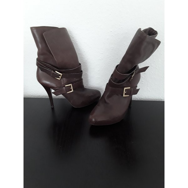 high hill leather booties