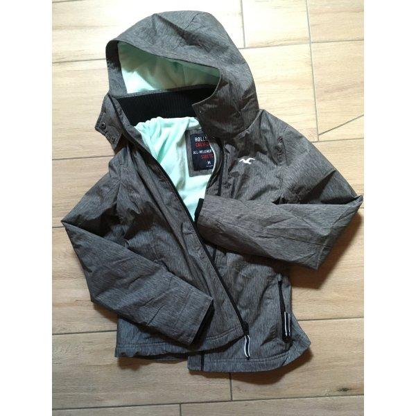 Hollister All-Weather Jacket Stretch Jacke Übergangsjacke Größe M grau türkis