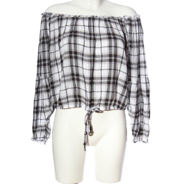 Hollister Carmen-Bluse weiß-schwarz Allover-Druck Casual-Look