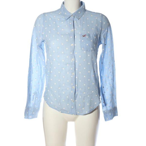 Hollister Langarmhemd blau-weiß Punktemuster Casual-Look