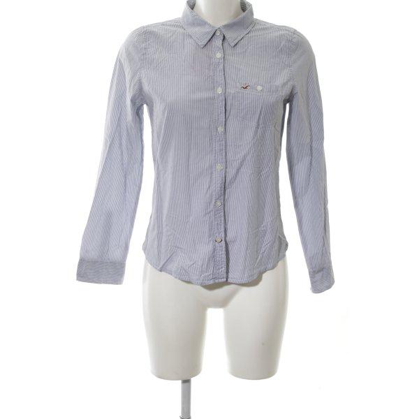 Hollister Langarmhemd blau-weiß Streifenmuster Casual-Look