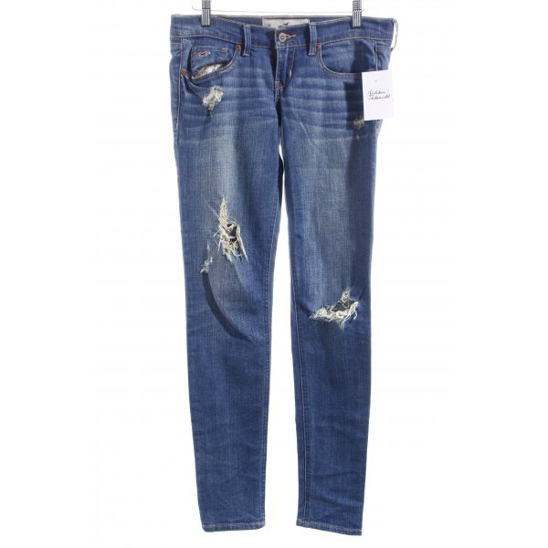 Hollister Stretch Jeans blau Used-Optik