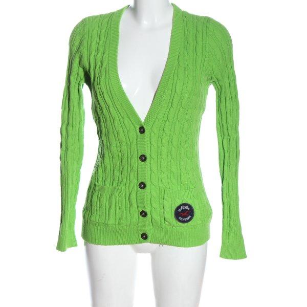 Hollister Strick Cardigan grün Zopfmuster Casual-Look