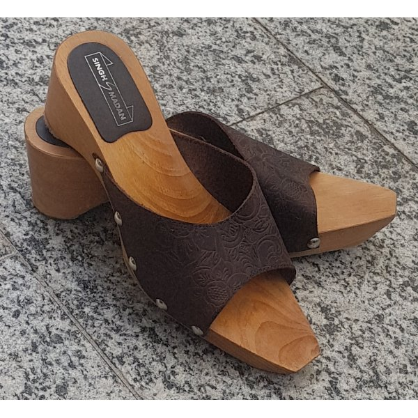 Singh Madan Heel Pantolettes brown leather
