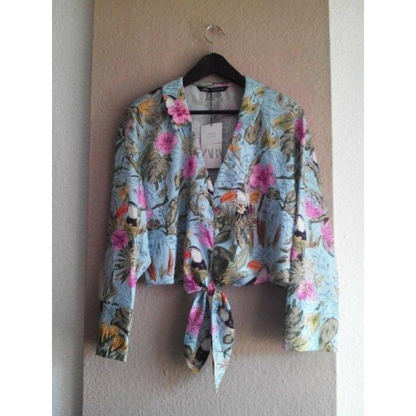 hübsche Bluse mit Tropischem Print, Grösse S, neu