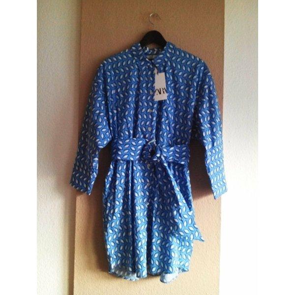 hübsches Hemdblusenkleid mit Gürtel aus 100% Baumwolle, Grösse L, neu