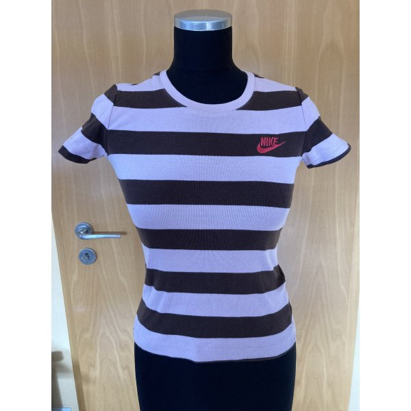 Hübsches T-Shirt, Sportshirt, Nike, rosa/braun gestreift, Gr. XS/32/34, 168 cm