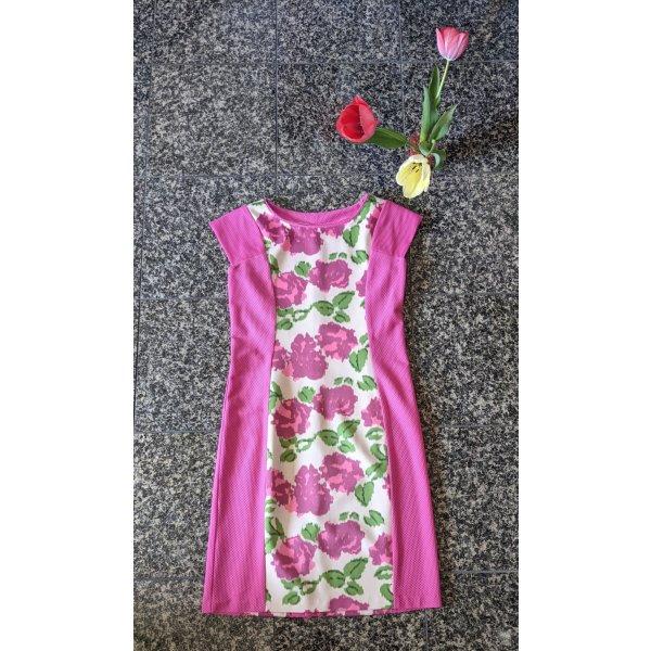 Hübsches Taillen Schmeichler Etui Kleid Gr. 38 Stretch mit Netzstoff seitlich