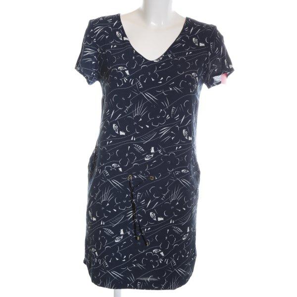 I Code Shirtkleid blau-weiß Blumenmuster Casual-Look