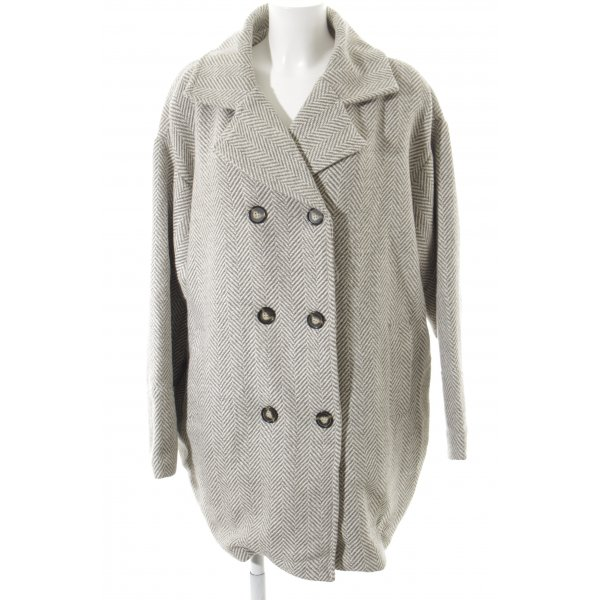Ichi Oversized Mantel wollweiß-graugrün Zackenmuster Casual-Look
