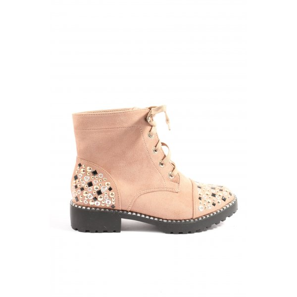 ideal shoes Schnür-Stiefeletten nude Casual-Look
