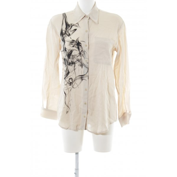 Isabel de Pedro Langarm-Bluse creme-schwarz abstraktes Muster Casual-Look