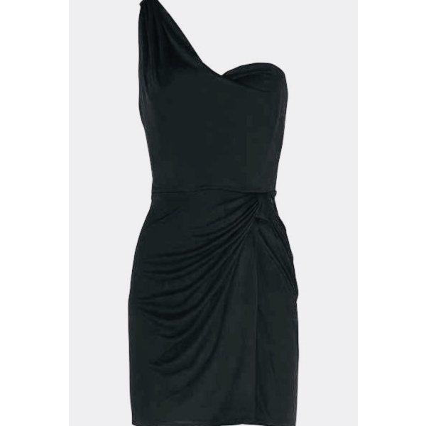 Issa London Schwarz Seide Drapiertes One-Shoulder Kleid UK 12 US 8 New Fürstenberg Zara Leger
