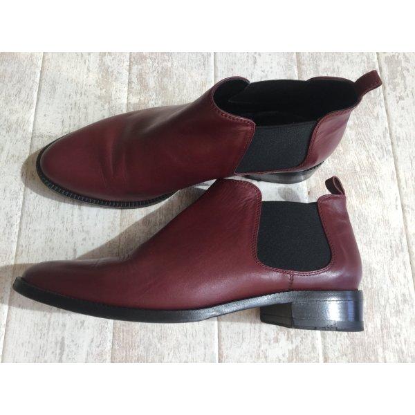 Korte laarzen bordeaux-karmijn Leer