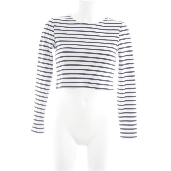 Ivyrevel Cropped Shirt wollweiß-blau Ringelmuster minimalistischer Stil