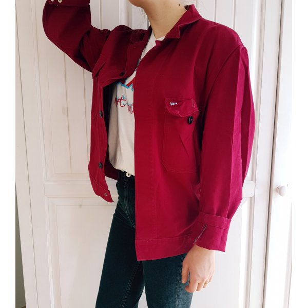 Jeansjacke Oversize Vintage Jeans Jacke Denim Jacket Mantel Rot Blutrot Rubinrot Burgunder Schwarz