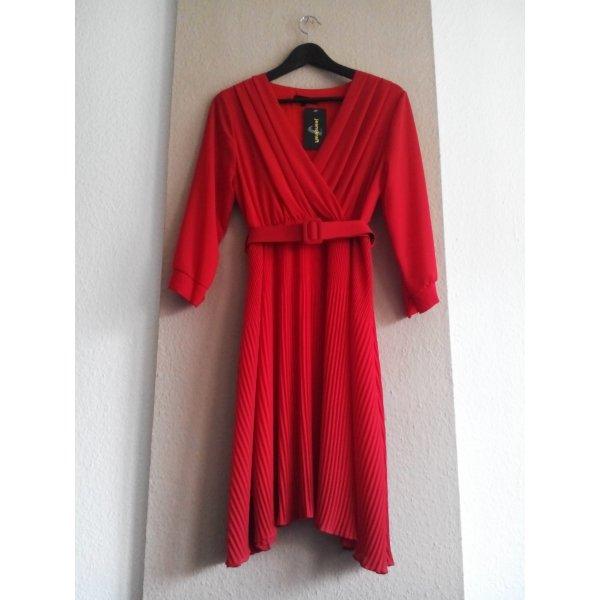 Jeanskraft wunderschönes Plissee Minikleid in rot, Made in Italy, Größe S, neu