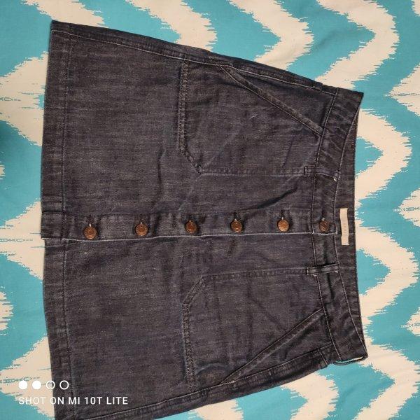Esprit Falda de talle alto azul oscuro