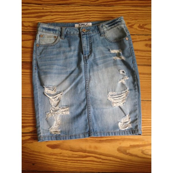 Jeansrock Denim-Rock Pencil Skirt ACNE Style ONLY destroyed Risse 26