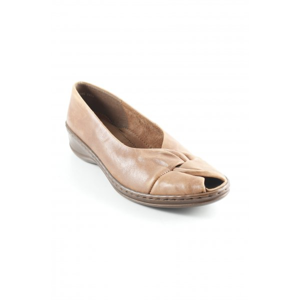 Jenny by ara Peeptoe Ballerinas cognac-hellbraun schlichter Stil
