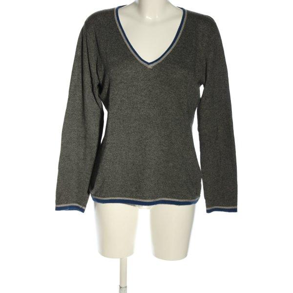Jette V-Ausschnitt-Pullover hellgrau-blau meliert Casual-Look