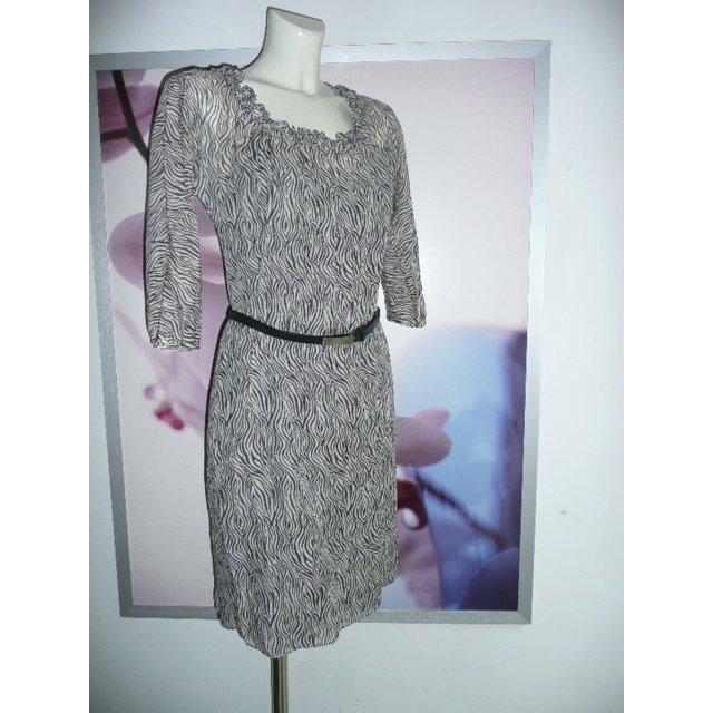 Joseph Janard Tunika Kleid Dress BW + Seide Animal Tiger Print schwarz weiß 36