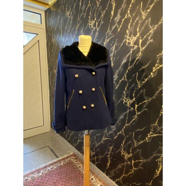 Juicy Couture Jacke Gr. S mit großem Pelzkragen, Luxus aus Wolle