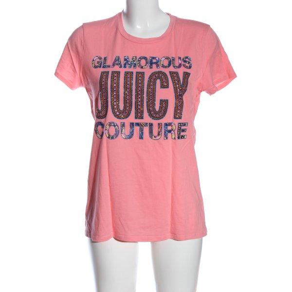Juicy Couture T-Shirt pink Schriftzug gedruckt Casual-Look