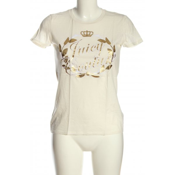 Juicy Couture T-Shirt creme-bronzefarben Motivdruck Casual-Look