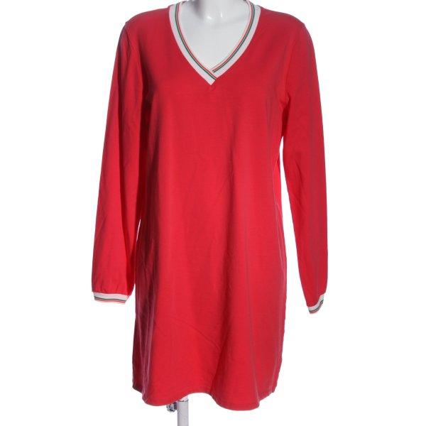 Julia Wang Langarmkleid rot-weiß Casual-Look