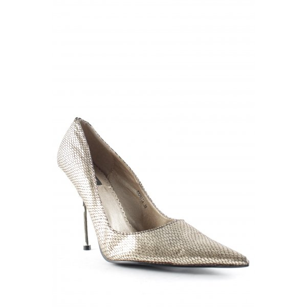 Jumelles High Heels goldfarben-schwarz extravaganter Stil