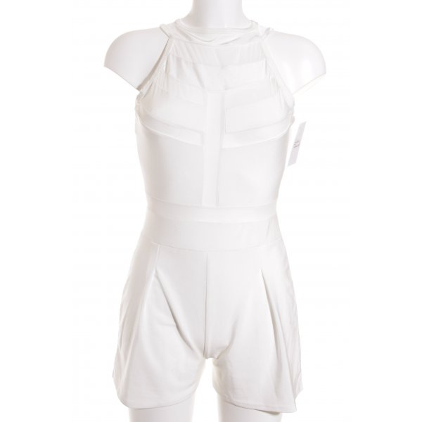 Jumpsuit wollweiß Transparenz-Optik