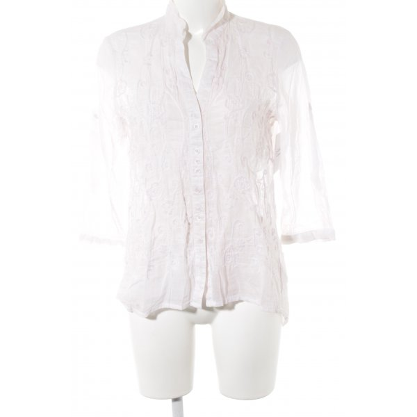 Just White Transparenz-Bluse rosé Blumenmuster Casual-Look