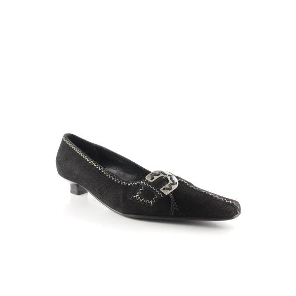 K+S Shoes Spitz-Pumps schwarz-wollweiß Business-Look