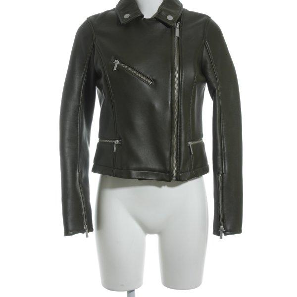 Karl Lagerfeld Lederjacke dunkelgrün minimalistischer Stil