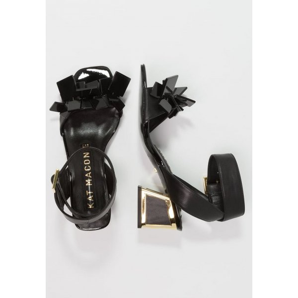 Kat Maconic Strapped High-Heeled Sandals black-gold-colored leather