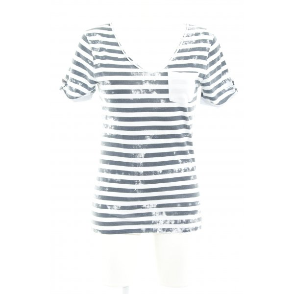 Kay Largo Girls T-Shirt weiß-dunkelgrau Streifenmuster Casual-Look