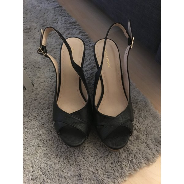Ideal Wedge Sandals black imitation leather