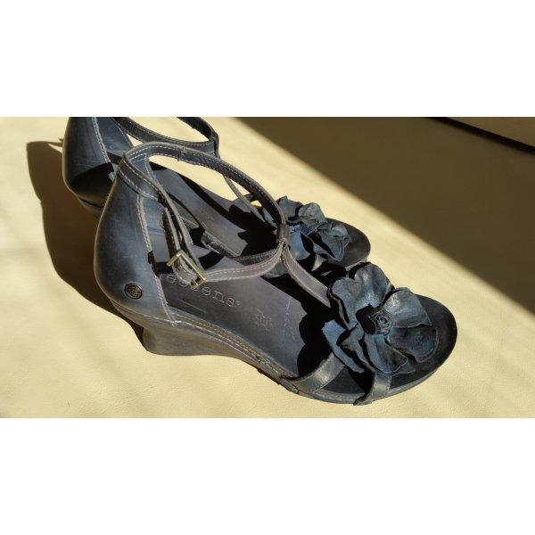 Neosens Wedge Sandals dark blue leather